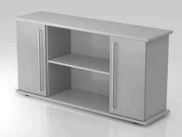Sideboard 2 Türen 166cm, Chromgriff, Grau/Silber