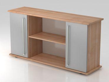 Sideboard 2 Türen 166cm, Chromgriff, Nussbaum/Silber