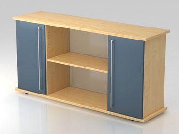 Sideboard 2 Türen 166cm, Relinggriff, Ahorn/Blau