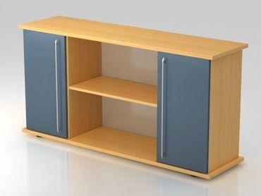 Sideboard 2 Türen 166cm, Relinggriff, Buche/Blau