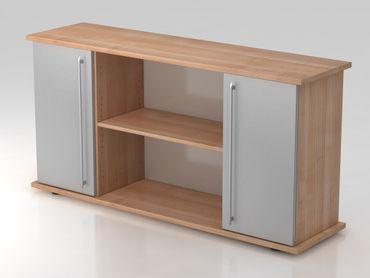 Sideboard 2 Türen 166cm, Relinggriff, Nussbaum/Silber