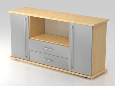 Sideboard 2 Türen, 2 Schübe, Relinggriff, Ahorn/Silber