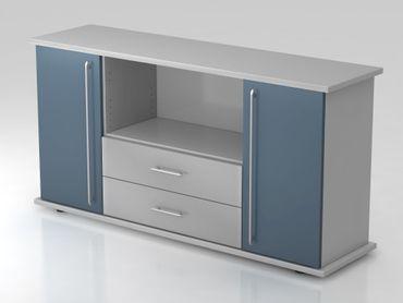 Sideboard 2 Türen, 2 Schübe, Relinggriff, Grau/Blau