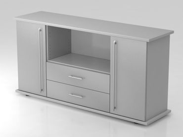 Sideboard 2 Türen, 2 Schübe, Relinggriff, Grau/Silber