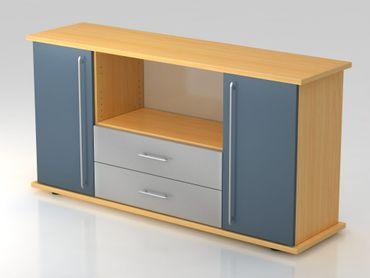 Sideboard 2 Türen, 2 Schübe, Relinggriff, Buche/Blau