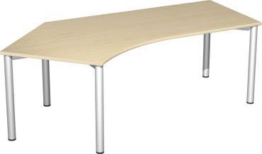 Schreibtisch 135° links feste Höhe, 2166x1130x720, Ahorn/Silber