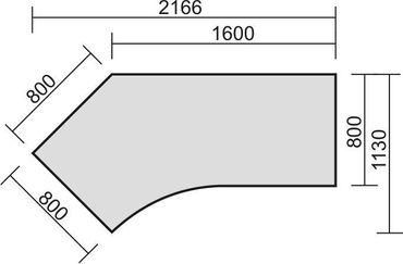 Schreibtisch 135° links feste Höhe, 2166x1130x720, Ahorn/Silber – Bild 2