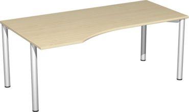 PC-Schreibtisch links feste Höhe, 1800x1000x720, Ahorn/Silber