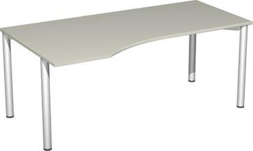 PC-Schreibtisch links feste Höhe, 1800x1000x720, Lichtgrau/Silber – Bild 1