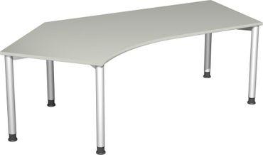 Schreibtisch 135° links höhenverstellbar, 2166x1130x680-800, Lichtgrau/Silber