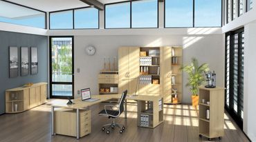 PC-Schreibtisch rechts höhenverstellbar, 1800x1000x680-800, Ahorn/Silber – Bild 3
