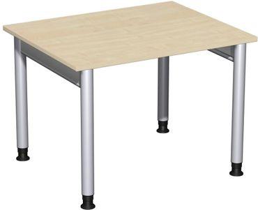 Schreibtisch höhenverstellbar, 1000x800x680-820, Ahorn/Silber