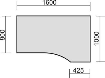 PC-Schreibtisch rechts höhenverstellbar, 1600x1000x680-820, Ahorn/Silber – Bild 2