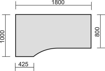 PC-Schreibtisch links höhenverstellbar, 1800x1000x680-820, Buche/Silber – Bild 2