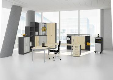 PC-Schreibtisch links höhenverstellbar, 1800x1000x680-820, Nussbaum/Silber – Bild 3