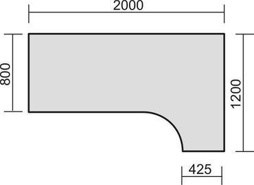 PC-Schreibtisch rechts höhenverstellbar, 2000x1200x680-820, Ahorn/Silber – Bild 2