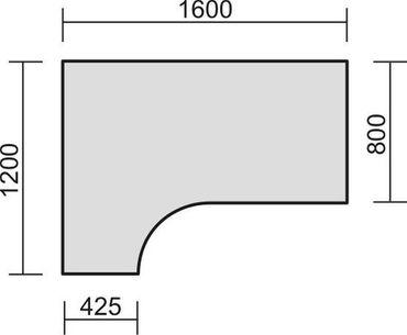 PC-Schreibtisch links höhenverstellbar, 1600x1200x680-820, Weiß/Silber – Bild 2