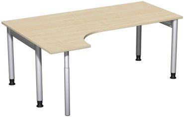 PC-Schreibtisch links höhenverstellbar, 1800x1200x680-820, Ahorn/Silber – Bild 1
