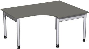 PC-Schreibtisch rechts höhenverstellbar, 1600x1200x680-820, Graphit/Silber – Bild 1