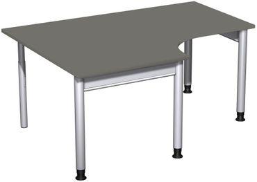 PC-Schreibtisch links höhenverstellbar, 1600x1200x680-820, Graphit/Silber – Bild 1