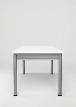 PC-Schreibtisch links höhenverstellbar, 1800x1200x680-820, Nussbaum/Silber – Bild 4