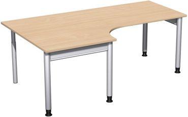 PC-Schreibtisch links höhenverstellbar, 2000x1200x680-820, Buche/Silber – Bild 1