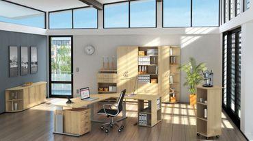 PC-Schreibtisch rechts feste Höhe, 1800x1000x720, Ahorn/Silber – Bild 3