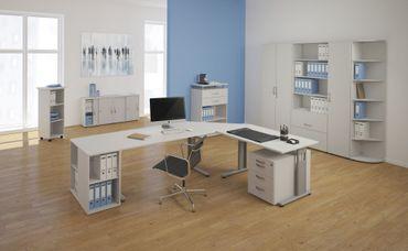 PC-Schreibtisch rechts feste Höhe, 1800x1000x720, Ahorn/Silber – Bild 4