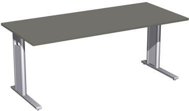Schreibtisch starr, C Fuß Blende optional, 1800x800x720, Graphit/Silber – Bild 1