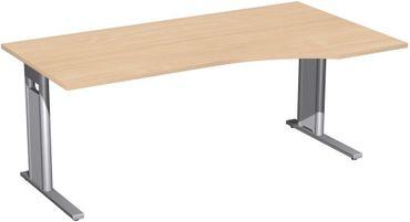 PC-Schreibtisch rechts starr, C Fuß Blende optional, 1800x1000x720, Buche/Silber – Bild 1