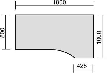 PC-Schreibtisch rechts starr, C Fuß Blende optional, 1800x1000x720, Nussbaum/Silber – Bild 2