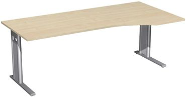 PC-Schreibtisch rechts starr, C Fuß Blende optional, 2000x1000x720, Ahorn/Silber – Bild 1