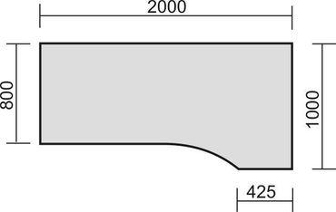 PC-Schreibtisch rechts starr, C Fuß Blende optional, 2000x1000x720, Lichtgrau/Silber – Bild 2