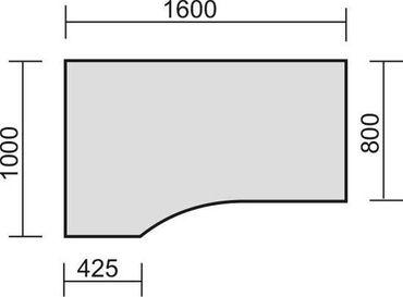 PC-Schreibtisch links starr, C Fuß Blende optional, 1600x1000x720, Ahorn/Silber – Bild 2