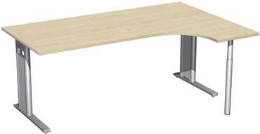 PC-Schreibtisch rechts starr, C Fuß Blende optional, 1800x1200x720, Ahorn/Silber – Bild 1