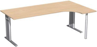 PC-Schreibtisch rechts starr, C Fuß Blende optional, 2000x1200x720, Buche/Silber – Bild 1