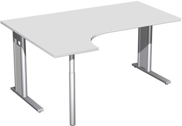 PC-Schreibtisch links starr, C Fuß Blende optional, 1600x1200x720, Lichtgrau/Silber – Bild 1