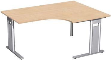 PC-Schreibtisch rechts starr, C Fuß Blende optional, 1600x1200x720, Buche/Silber – Bild 1