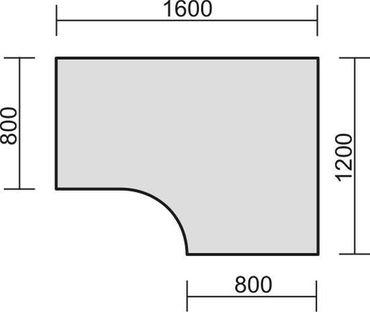 PC-Schreibtisch rechts starr, C Fuß Blende optional, 1600x1200x720, Nussbaum/Silber – Bild 2