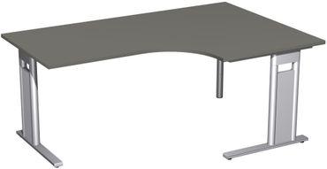 PC-Schreibtisch rechts starr, C Fuß Blende optional, 1800x1200x720, Graphit/Silber – Bild 1