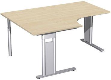 PC-Schreibtisch links starr, C Fuß Blende optional, 1600x1200x720, Ahorn/Silber – Bild 1