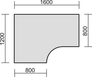 PC-Schreibtisch links starr, C Fuß Blende optional, 1600x1200x720, Ahorn/Silber – Bild 2