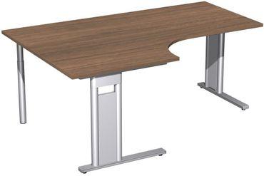 PC-Schreibtisch links starr, C Fuß Blende optional, 1800x1200x720, Nussbaum/Silber – Bild 1