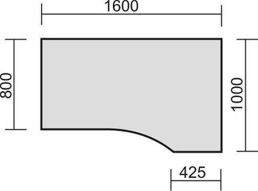 PC-Schreibtisch rechts höhenverstellbar, C Fuß Blende optional, 1600x1000x680-820, Nussbaum/Silber – Bild 2