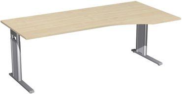 PC-Schreibtisch rechts höhenverstellbar, C Fuß Blende optional, 2000x1000x680-820, Ahorn/Silber – Bild 1