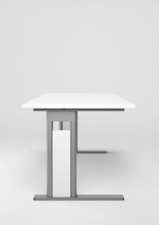 PC-Schreibtisch links höhenverstellbar, C Fuß Blende optional, 1600x1000x680-820, Ahorn/Silber – Bild 4