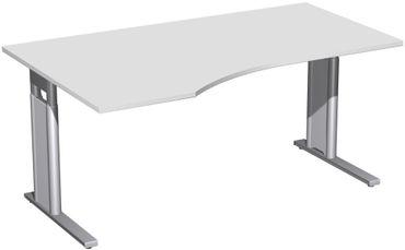 PC-Schreibtisch links höhenverstellbar, C Fuß Blende optional, 1600x1000x680-820, Lichtgrau/Silber – Bild 1