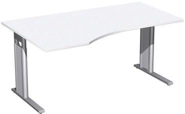 PC-Schreibtisch links höhenverstellbar, C Fuß Blende optional, 1600x1000x680-820, Weiß/Silber – Bild 1