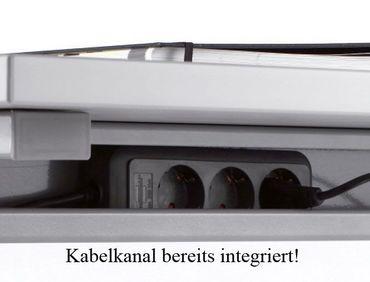 PC-Schreibtisch links höhenverstellbar, C Fuß Blende optional, 1600x1000x680-820, Weiß/Silber – Bild 6