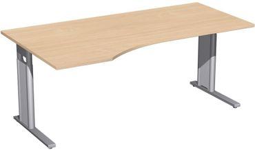 PC-Schreibtisch links höhenverstellbar, C Fuß Blende optional, 1800x1000x680-820, Buche/Silber – Bild 1
